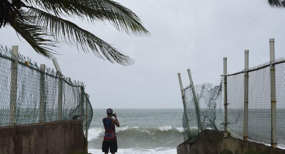 Imagem da passagem do furacão Irma por Porto Rico, na América Central