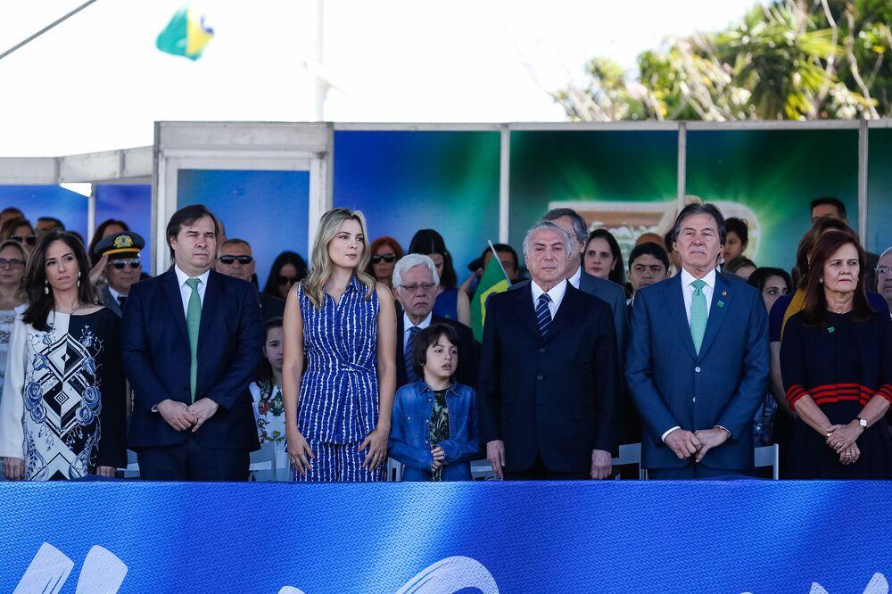 Michel Temer, Rodrigo Maia e Eunício Oliveira em Brasília, nas comemorações do Dia da Independência