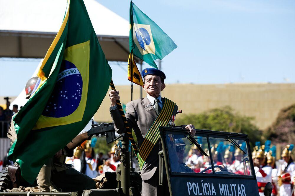 Veterano brasileiro no desfile do Dia da Independência, em Brasília