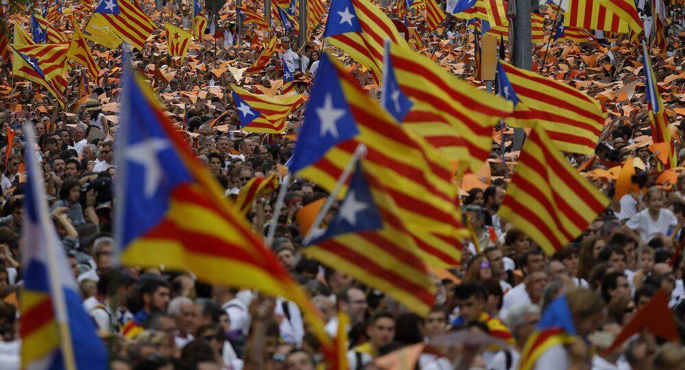 Manifestação pela independência da Catalunha em Barcelona