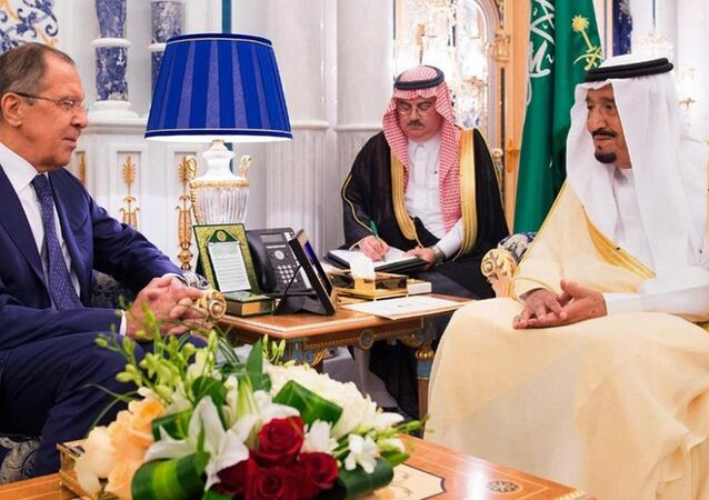 King Salman bin Abdulaziz Al Saud of Saudi Arabia (R) greets Russian Foreign Minister Sergei Lavrov in Jeddah, Saudi Arabia September 10, 2017 in this Saudi Press Agency handout