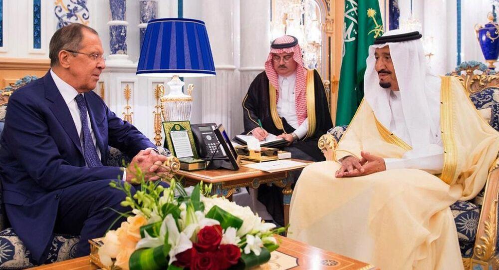 King Salman bin Abdulaziz Al Saud of Saudi Arabia (R) greets Russian Foreign Minister Sergei Lavrov in Jeddah, Saudi Arabia September 10, 2017 in this Saudi Press Agency handout