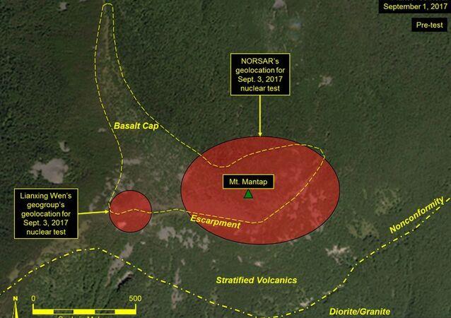 Imagem de satélite mostra detalhes do mais recente teste nuclear da Coreia do Norte