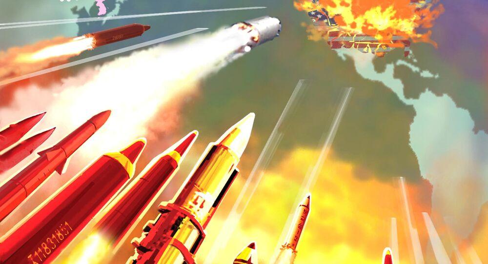Poster com propaganda norte-coreana, culpando EUA e países hostis pelas sanções: Todas as regiões dos EUA estão ao alcance dos nossos mísseis agora!