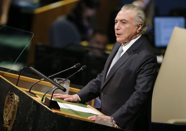 Michel Temer, presidente do Brasil, na 72ª sessão da Assembleia Geral das Nações Unidas