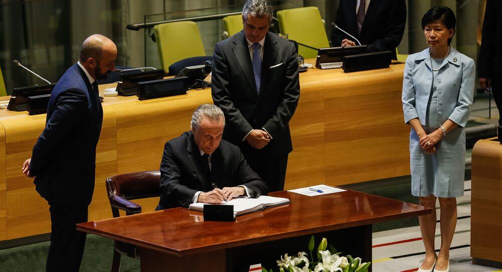 Presidente Michel Temer durante cerimônia de assinatura do Tratado para a Proibição de Armas Nucleares