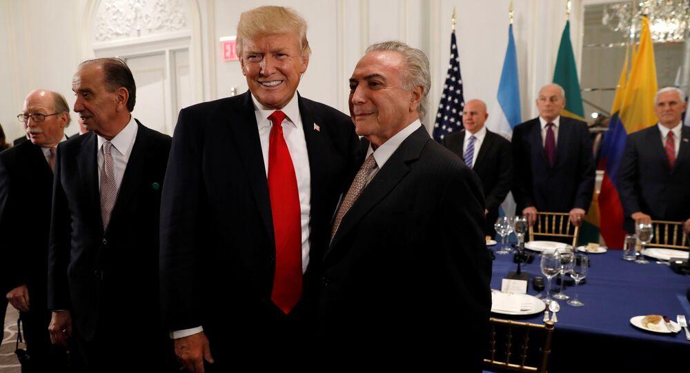 Presidente dos EUA, Donald Trump, e seu homólogo brasileiro, Michel Temer, se reunem durante um jantar de negócios em Nova York, nas margens da sessão da Assembleia Geral da ONU, em 18 de setembro de 2017