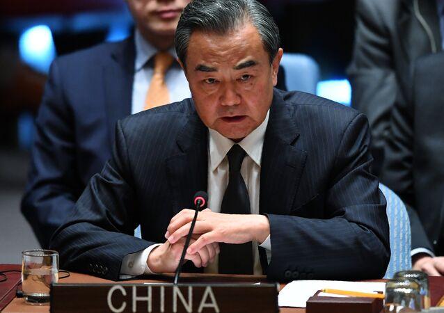Ministro das Relações Exteriores da China, Wang Yi, durante 72ª Assembleia Geral da ONU