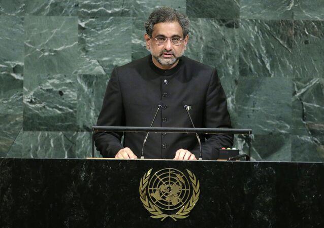 Shahid Khaqan Abbasi discursa na Assembleia Geral da ONU
