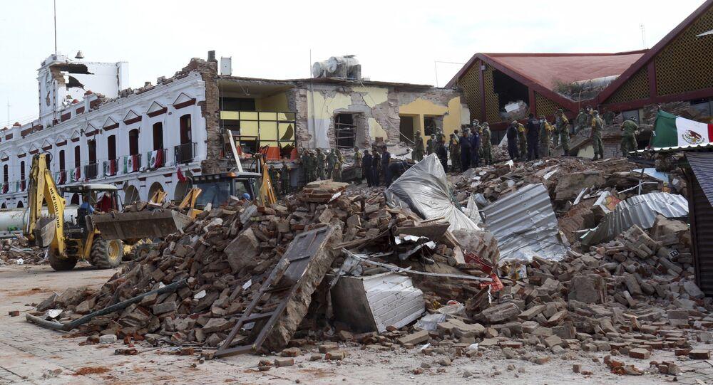 Consequências do terremeto no estado de Oaxaca, México