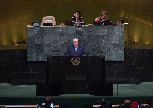 Syrian Arab Republic Deputy Prime Minister Walid Almoualem addresses the 72nd Session of the United Nations General assembly at the UN headquarters in New York on September 23, 2017