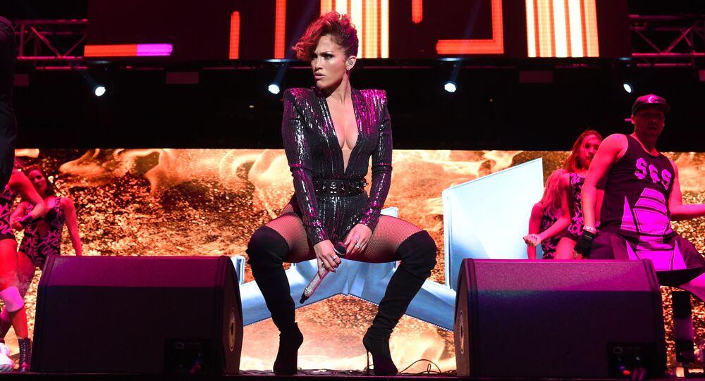 Jennifer Lopez em apresentação no Madison Square Garden, em Nova York
