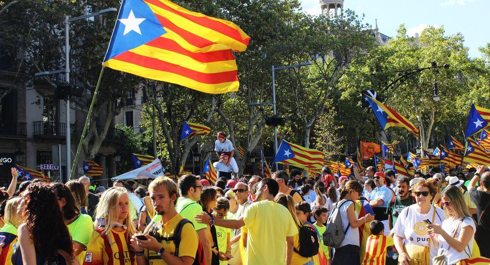 Apoiadores da independência da Catalunha em Barcelona