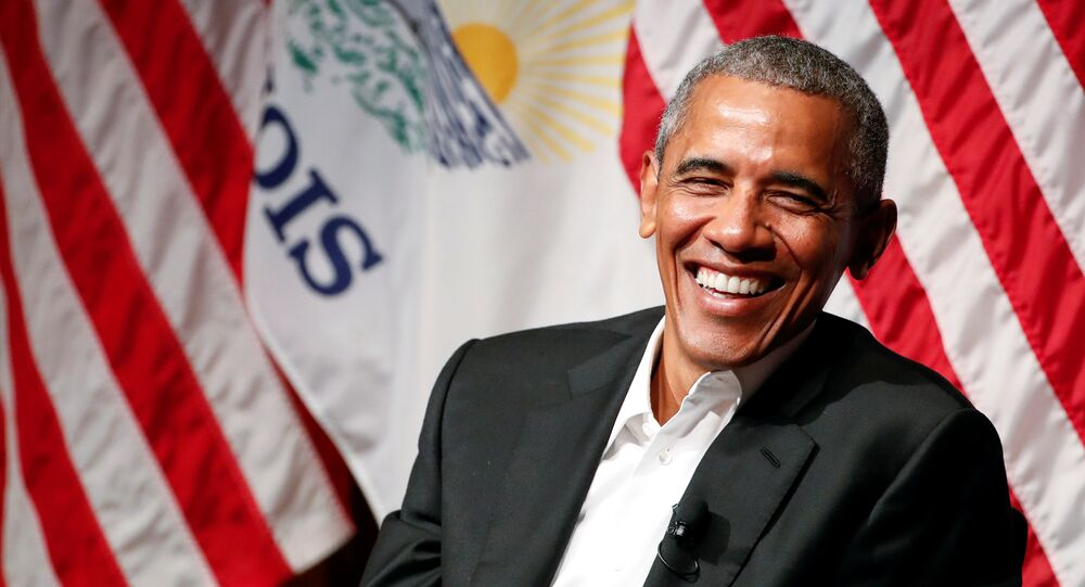 Barack Obama making his first public appearance after leaving office, April 2017
