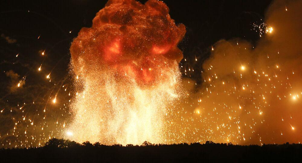 Explosão de munições na Ucrânia (foto de arquivo)