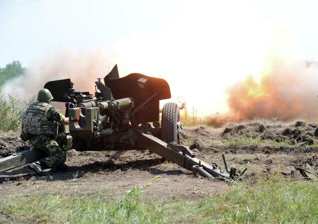 Canhão antitanque MT-12 Rapira das Forças Armadas da Ucrânia