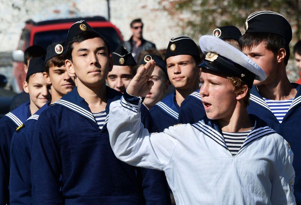 Participantes da ação patriótica em Vladivostok, Estremo Oriente russo