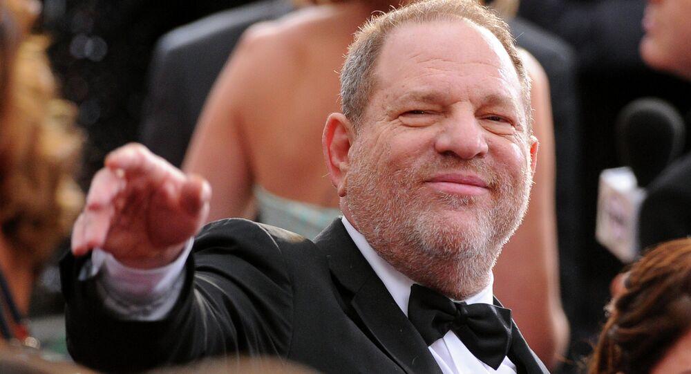 Produtor de Hollywood Harvey Weinstein na cerimônia do Oscar em 22 de fevereiro de 2015