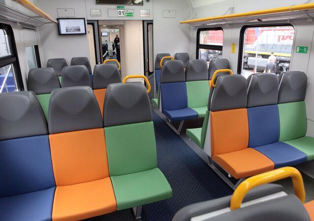 O interior do trem elétrico EP2D da Transmashholding