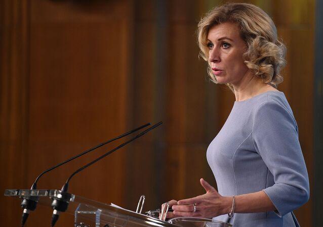 A representante oficial do Ministério das Relações Exteriores da Rússia, Maria Zakharova, durante uma entrevista coletiva em 2 de outubro de 2017