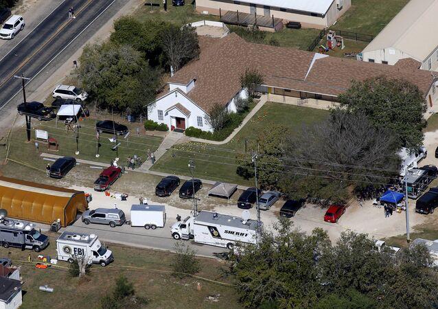 Igreja de Sutherland Springs, local do tiroteio maciço, Texas, EUA, 6 de novembro de 2017
