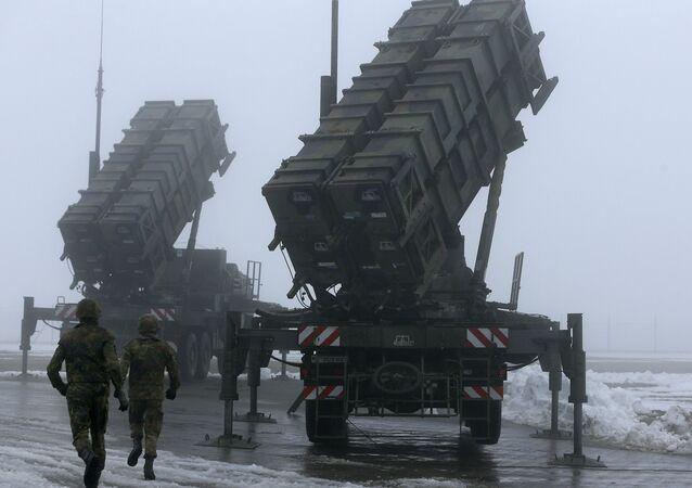 Sistema de mísseis americano Patriot, foto de arquivo
