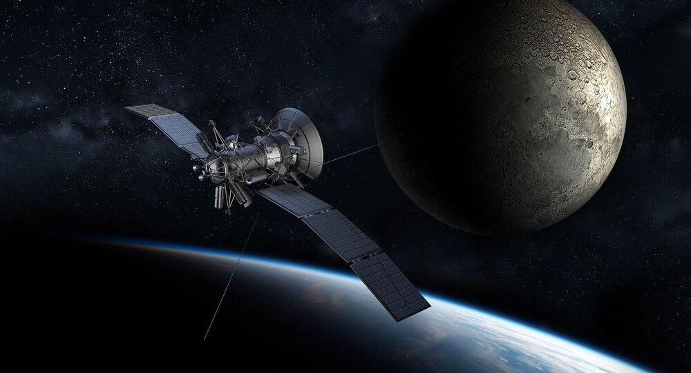 Um satélite na órbita terrestre