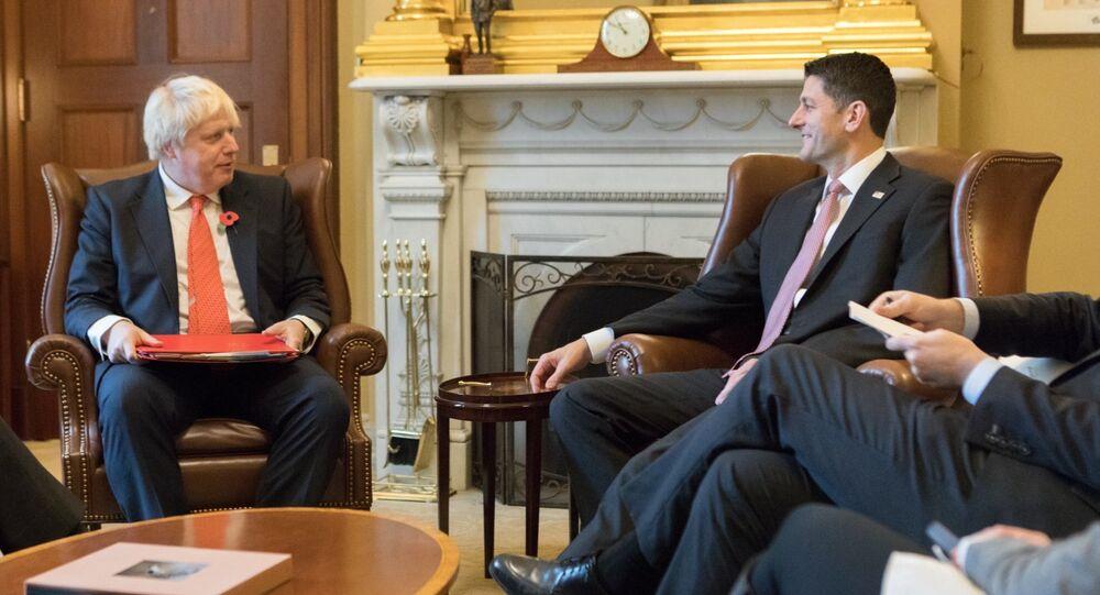 Boris Johnson se encontra com Paul Ryan em Washington