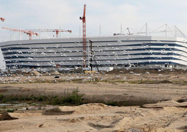 Costrução do estádio em Kaliningrado, 2 de outubro de 2017