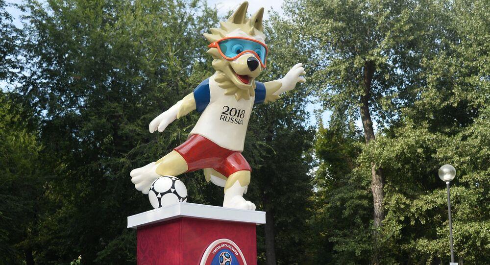 Mascote da Copa 2018 na Rússia na cidade de Rostov-no-Don