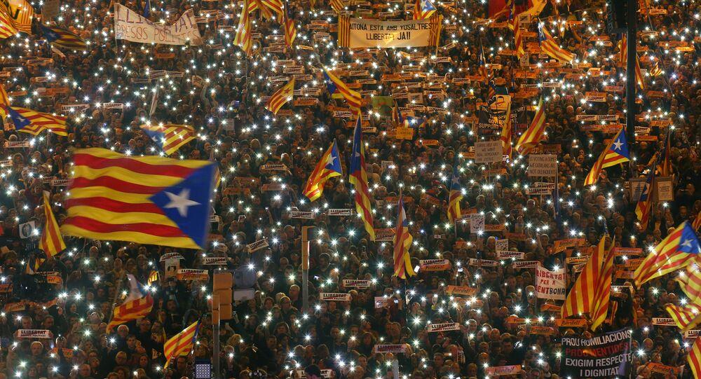 Protesto pela independência da Catalunha, em Barcelona, dia 11 de novembro de 2017
