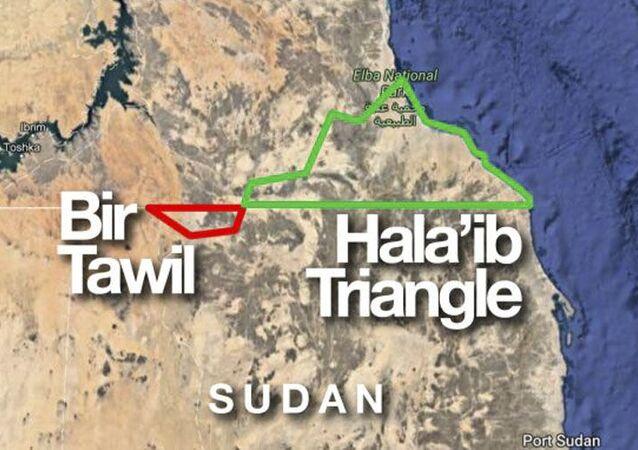 Mapa de Bir-Tawil, território que se encontra entre Egito e Sudão