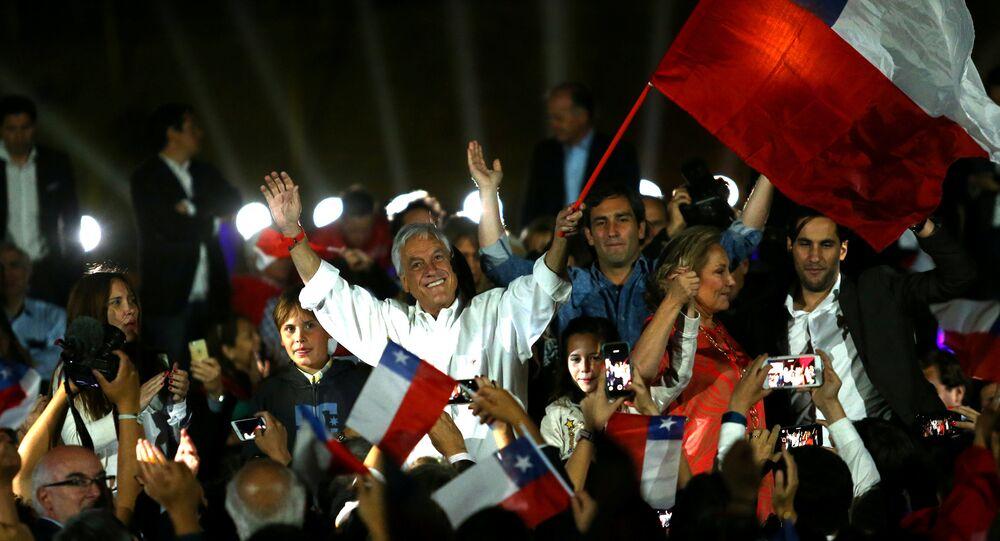 Sebastián Piñera durante campanha presidencial, novembro de 2016