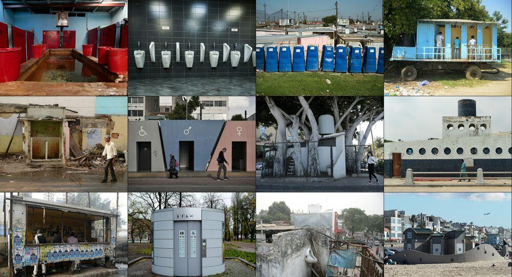 Combinação de fotos em homenagem ao Dia Mundial do Banheiro declarado pela ONU, celebrado em 19 de novembro de 2017