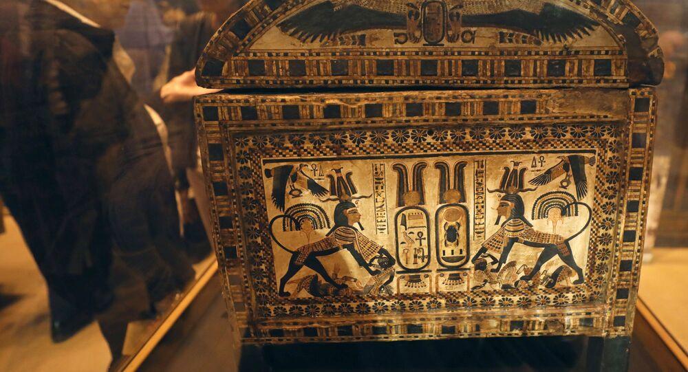 Uma das amostras da exposição Tutankhamun's Unseen Treasures (Tesouros Nunca Vistos de Tutancâmon) no Museu Egípcio do Cairo, 15 de novembro de 2017