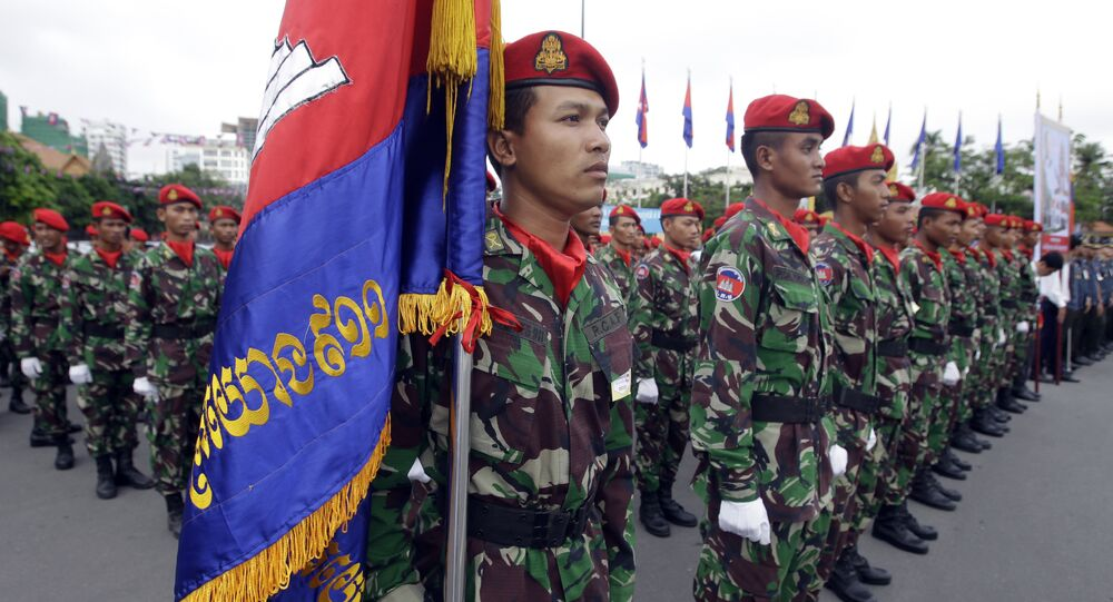 Cambodian soldiers attend the Independence Day celebrations in Phnom Penh, Cambodia, Thursday, Nov. 9, 2017. Some hundreds of civil servants and students gathered to mark the country's 64th Independence Day. The country gained independence from France on Nov. 9, 1953.