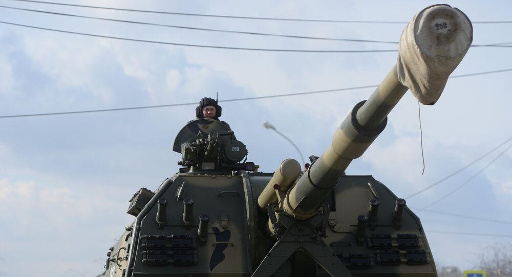 Canhão autopropulsado russo Koalitsiya-SV (foto do arquivo)