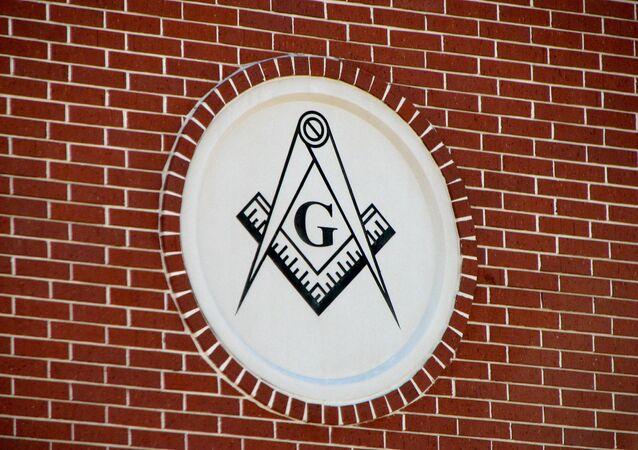 Esquadro e compasso maçônico, foto de arquivo