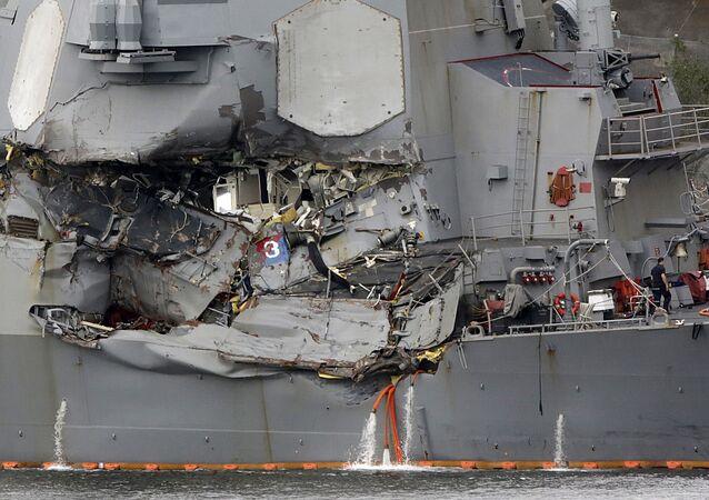 Destróier USS Fitzgerald da Marinha dos EUA após acidente de coalisão (foto de arquivo)