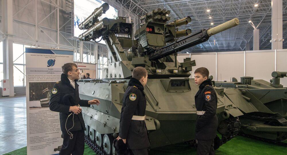 Robô de reconhecimento e combate russo Uran-9 (foto de arquivo)