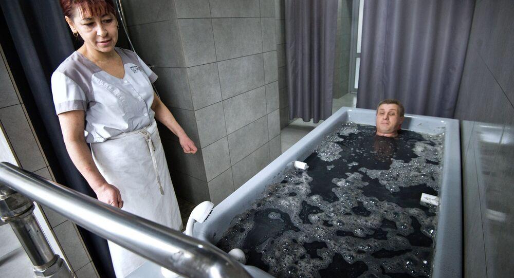 Um sanatório de balneoterapia na cidade de Saki, na Crimeia