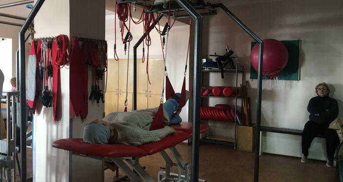 Centro de treinamento muscular e articular no Centro de Tratamento de Reabilitação do Sanatório Militar Pirogov, na Crimeia